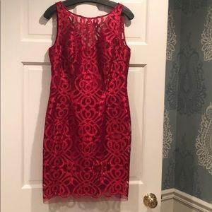 Aidan Mattox Lace Bateau Dress